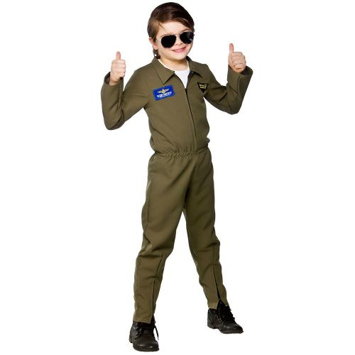 Boys Airforce Hot Shot Costume for Airline Pilots Crew Fancy Dress Kids Childs